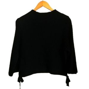 LOVE MOSCHINO Black Cropped Knitted Wool Sweater